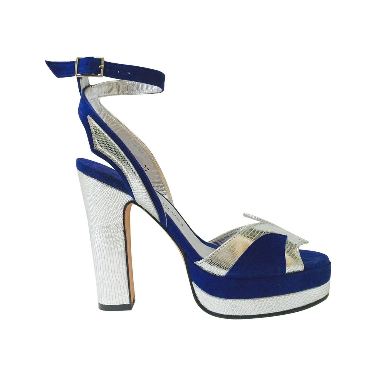 New Terry de Havilland Blue Suede Platform Stacked High Heel Sandals For Sale