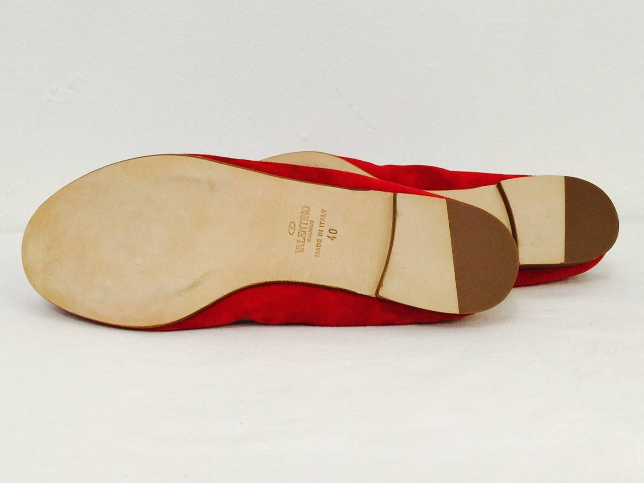 New Valentino Garavani Red Suede Ballerina Flats For Sale ...