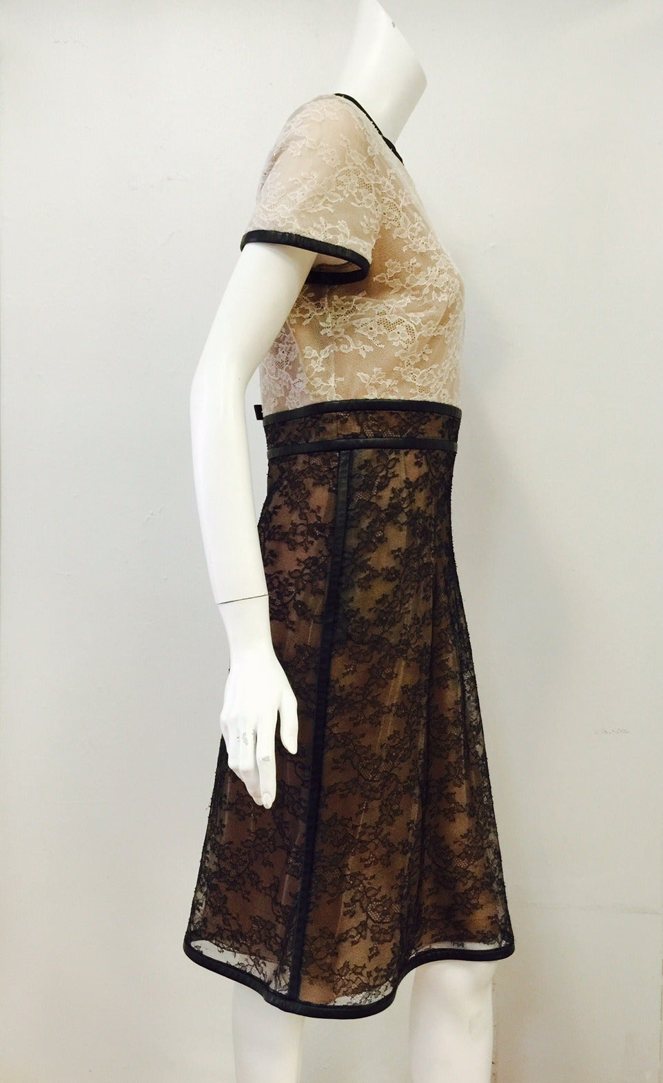 Valentino Runway Leather Trimmed Silk Lace Cocktail Dress For Sale ...