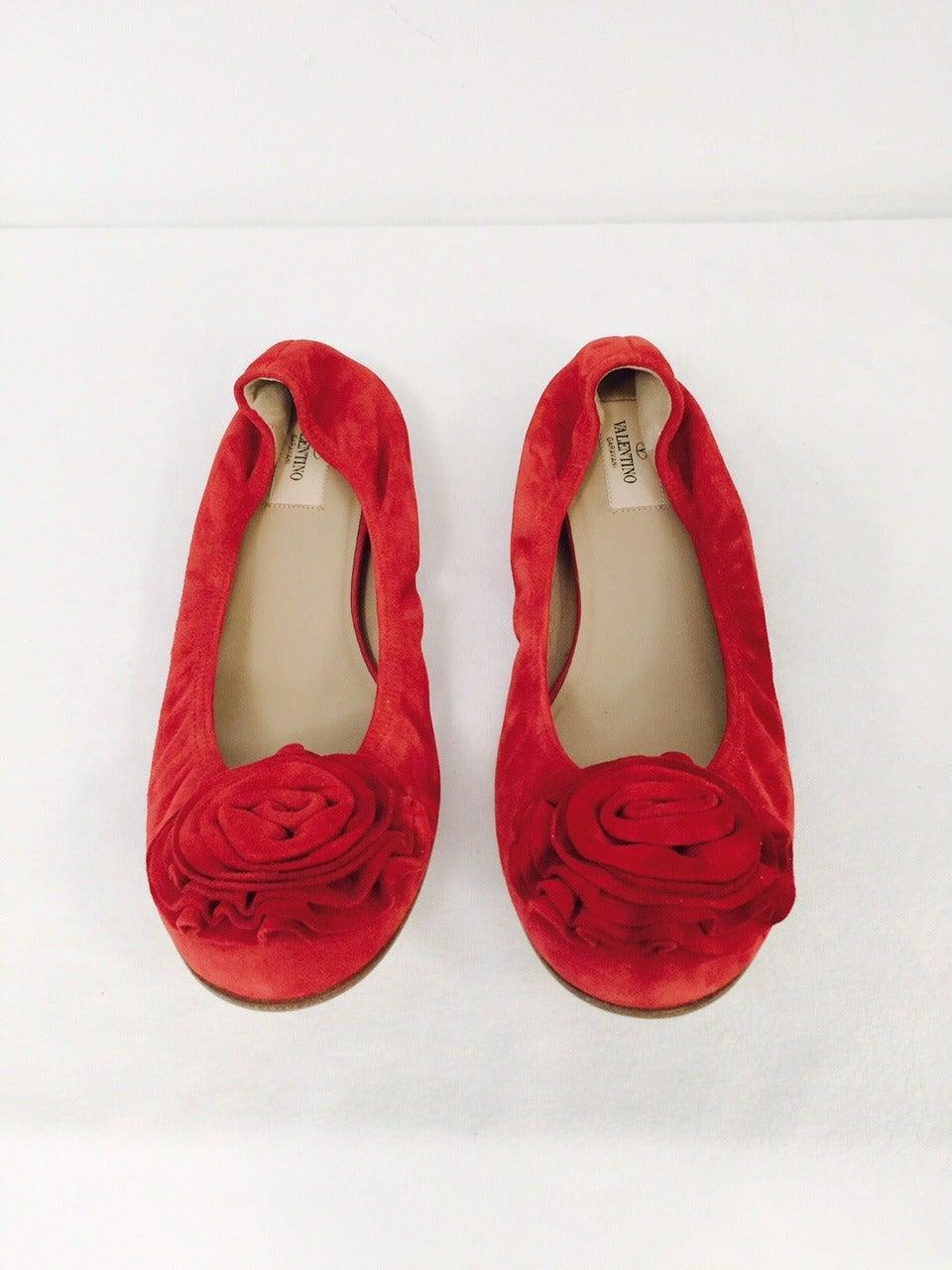 New Valentino Garavani Red Suede Ballerina Flats 5