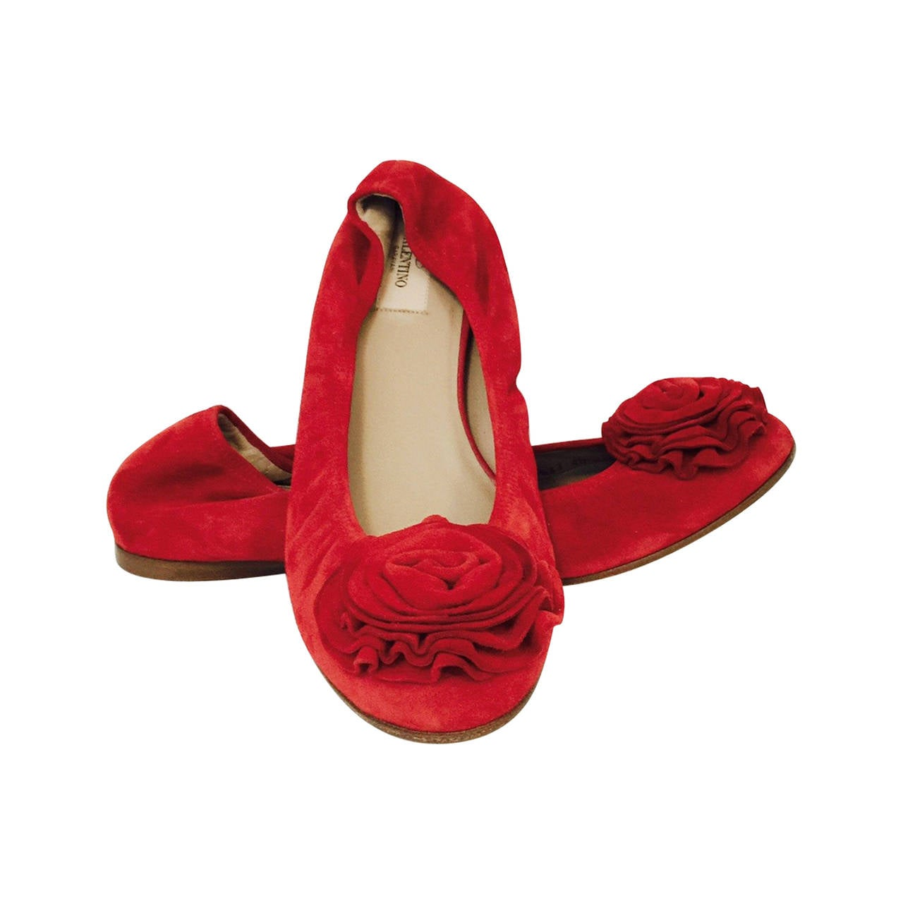 New Valentino Garavani Red Suede Ballerina Flats 1