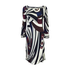 Exotic Emilio Pucci Print Long Sleeve Shift Dress