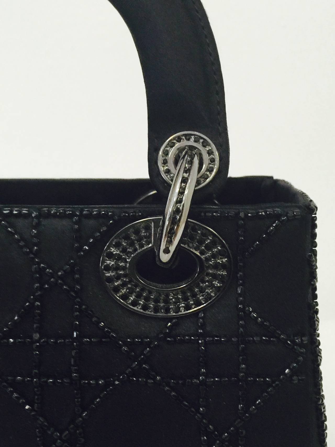 a158f38d848 New Limited Edition Iconic Mini Lady Dior Black Satin Evening Bag