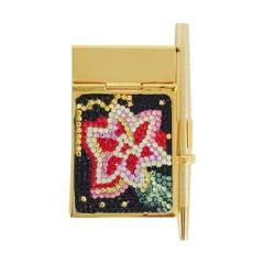 New Judith Leiber Swarovski Crystal Encrusted Mini Pad With Pen