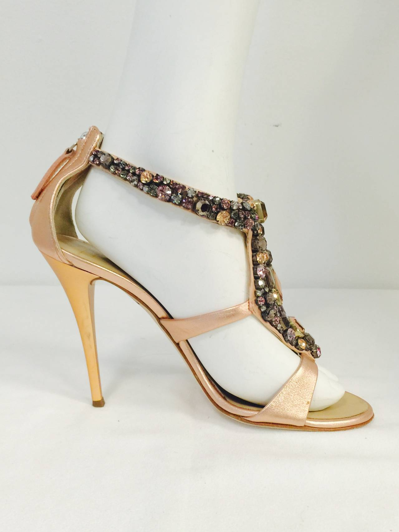532ee64882ff Giuseppe Zanotti High Heel Sandals are Crown Jewels for the feet! Features  exotic rose gold
