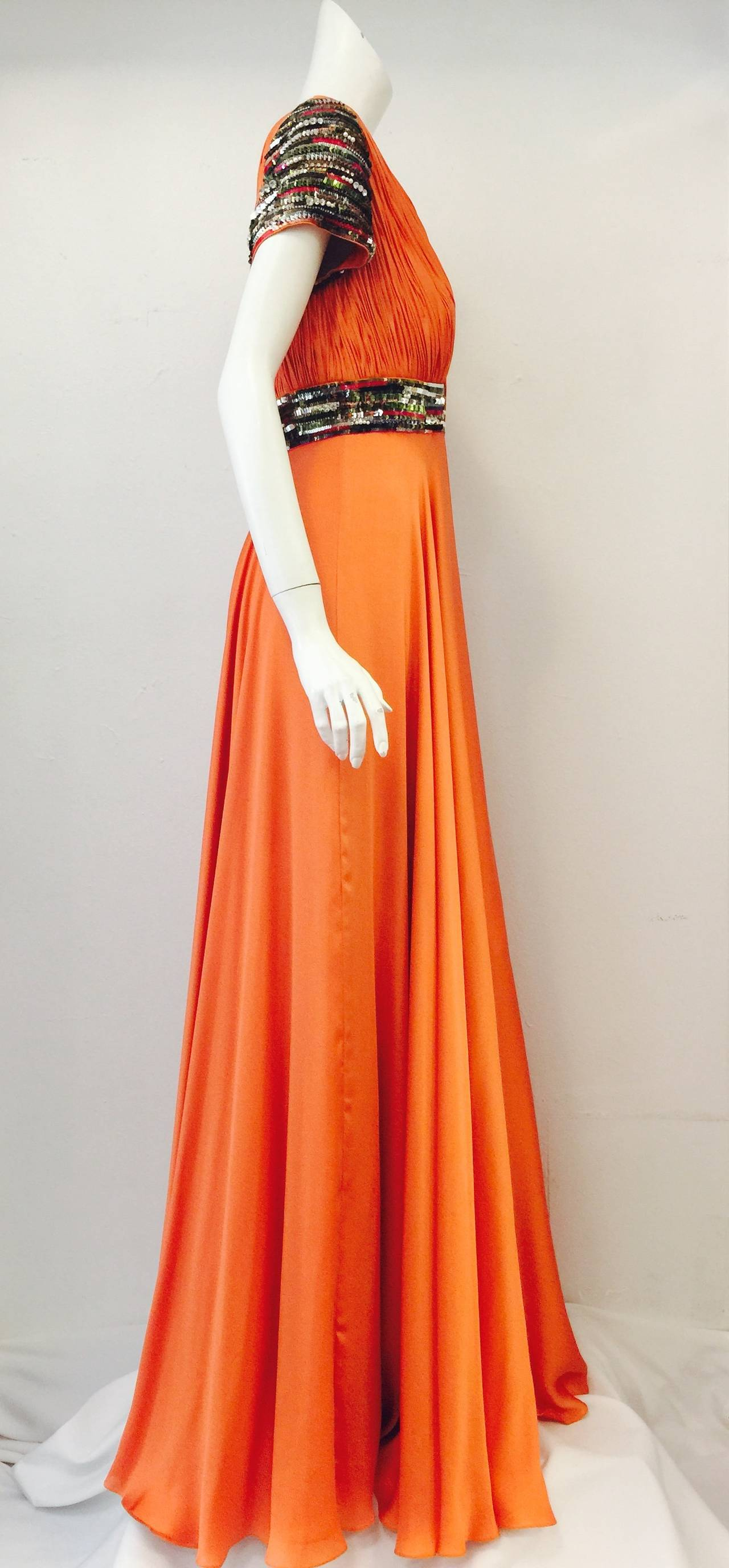 New Farah Angsana Sunset Orange Silk Gown 4