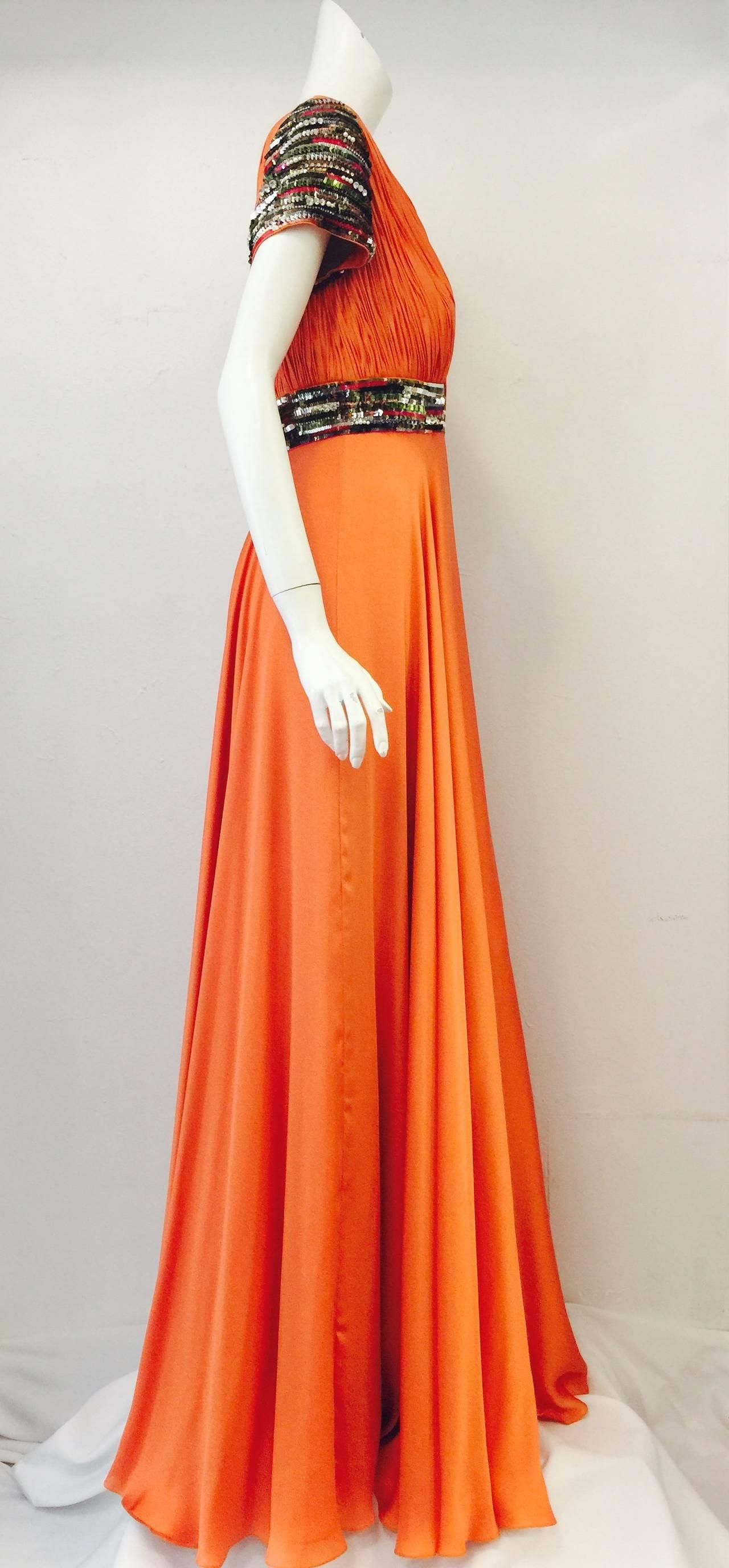 New Farah Angsana Sunset Orange Silk Gown 4