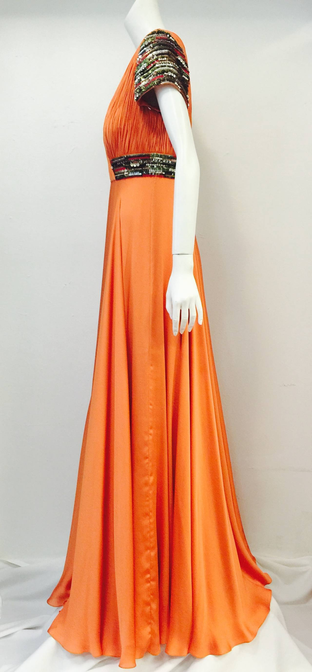 New Farah Angsana Sunset Orange Silk Gown 2