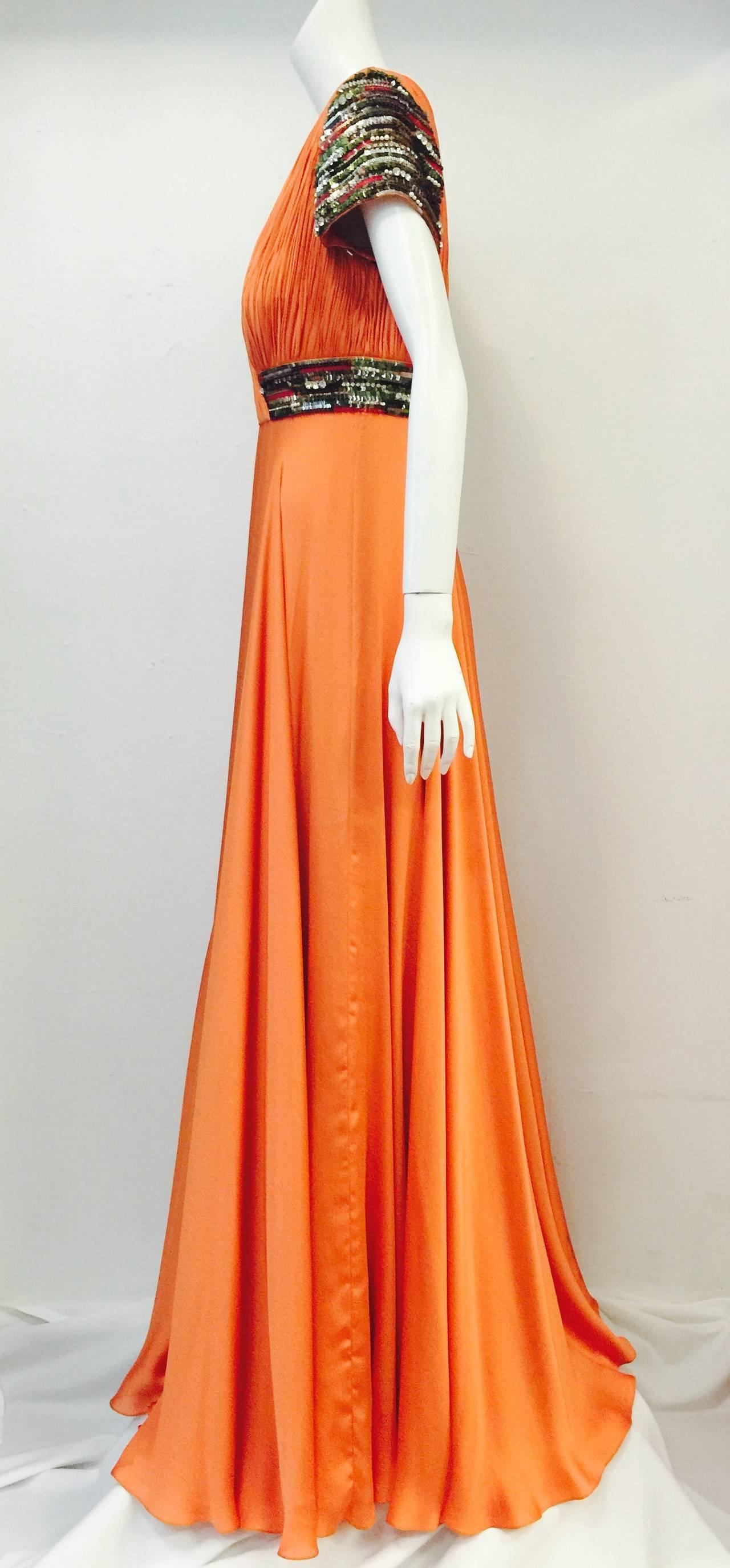 New Farah Angsana Sunset Orange Silk Gown 2