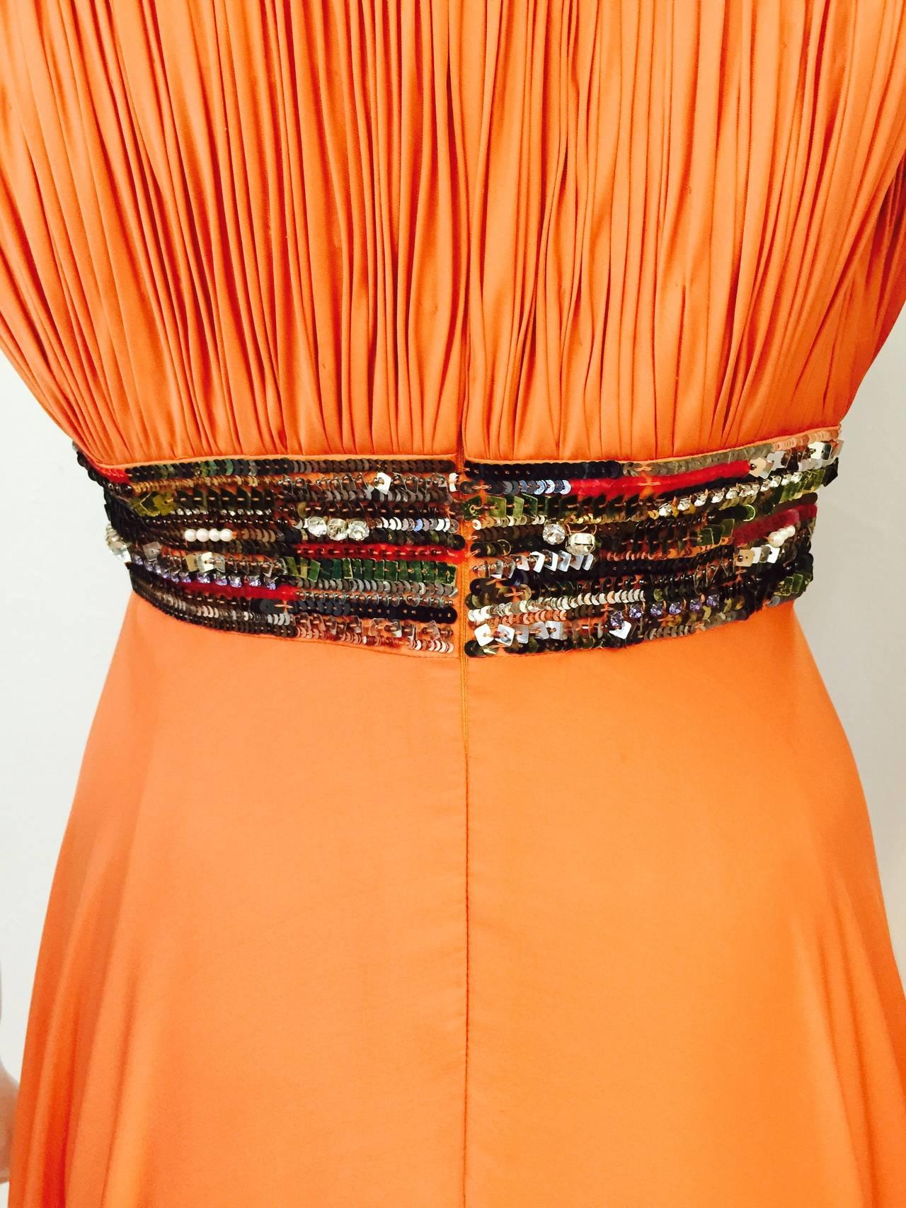 New Farah Angsana Sunset Orange Silk Gown 6
