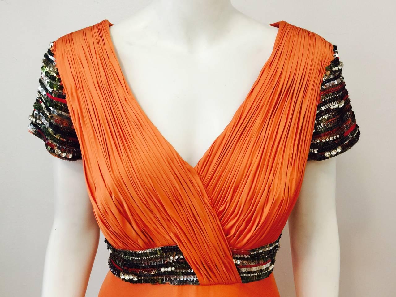 New Farah Angsana Sunset Orange Silk Gown 5