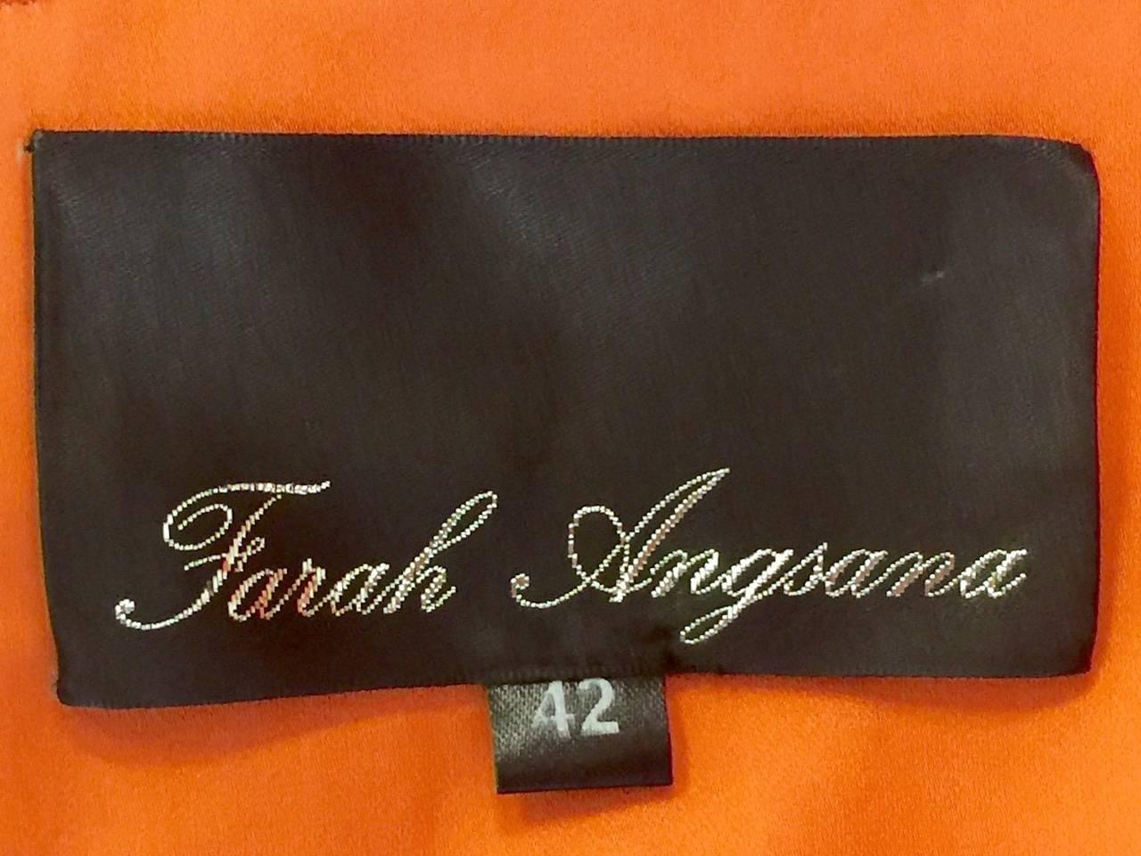New Farah Angsana Sunset Orange Silk Gown 8