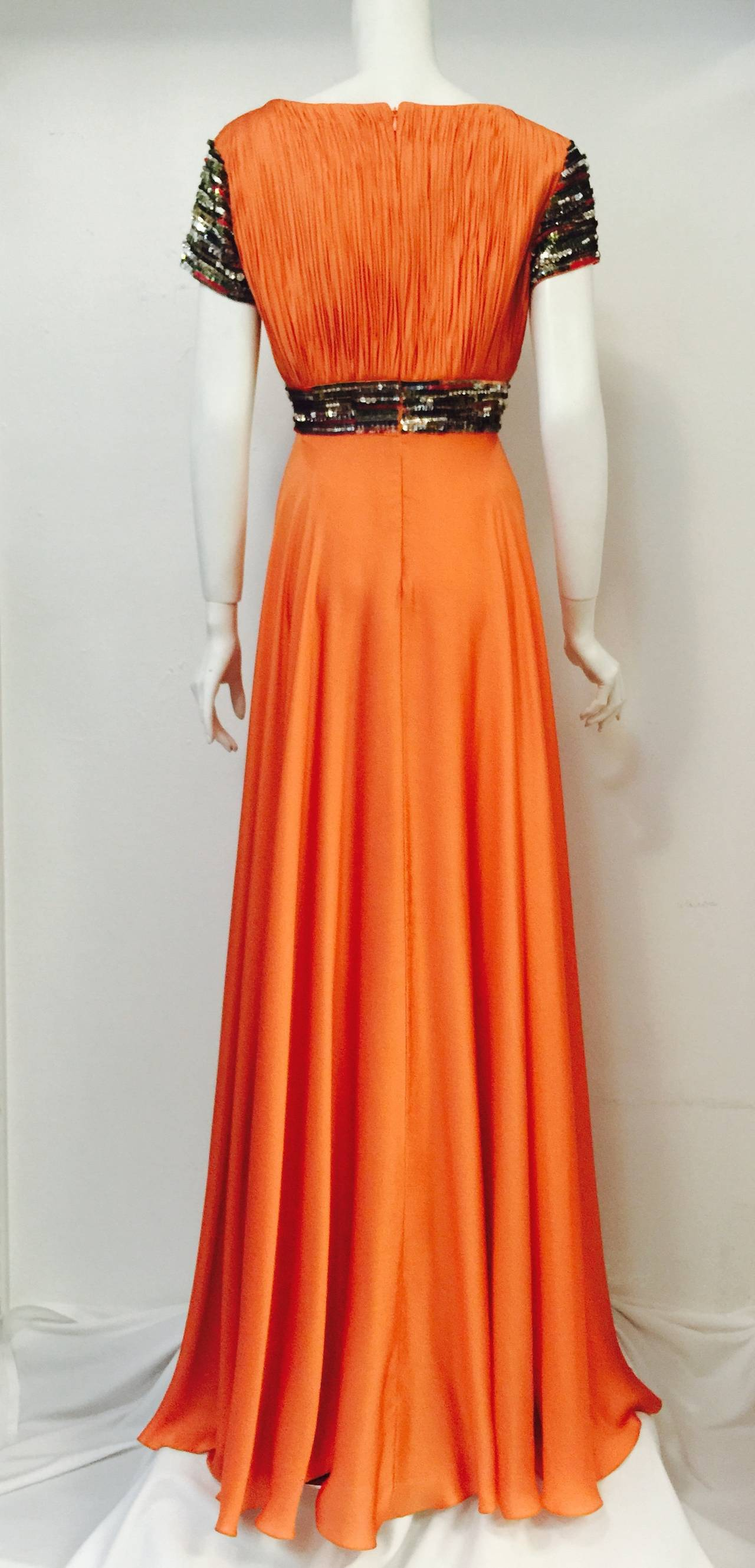 New Farah Angsana Sunset Orange Silk Gown 3