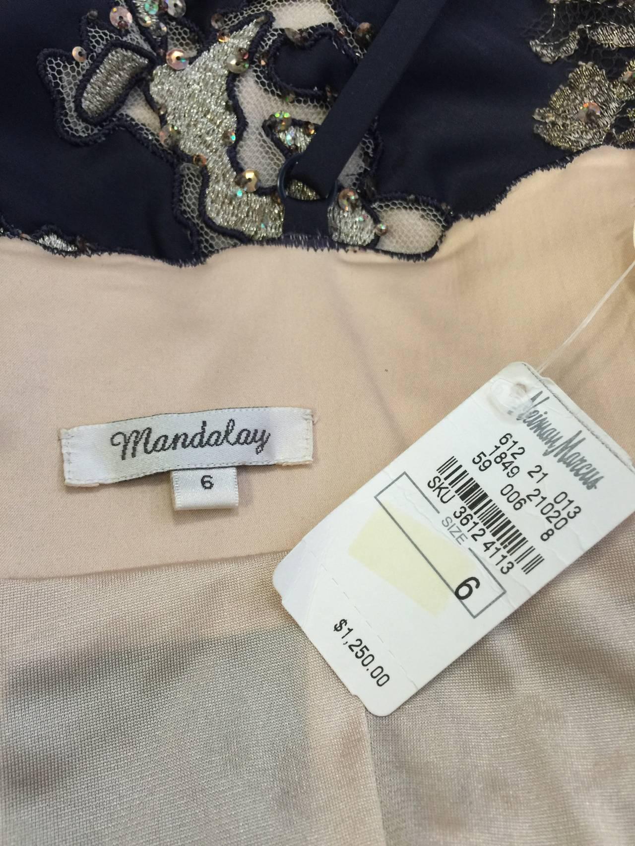 New Mandalay Midnight Blue Neiman Marcus Beaded Cocktail Dress 7