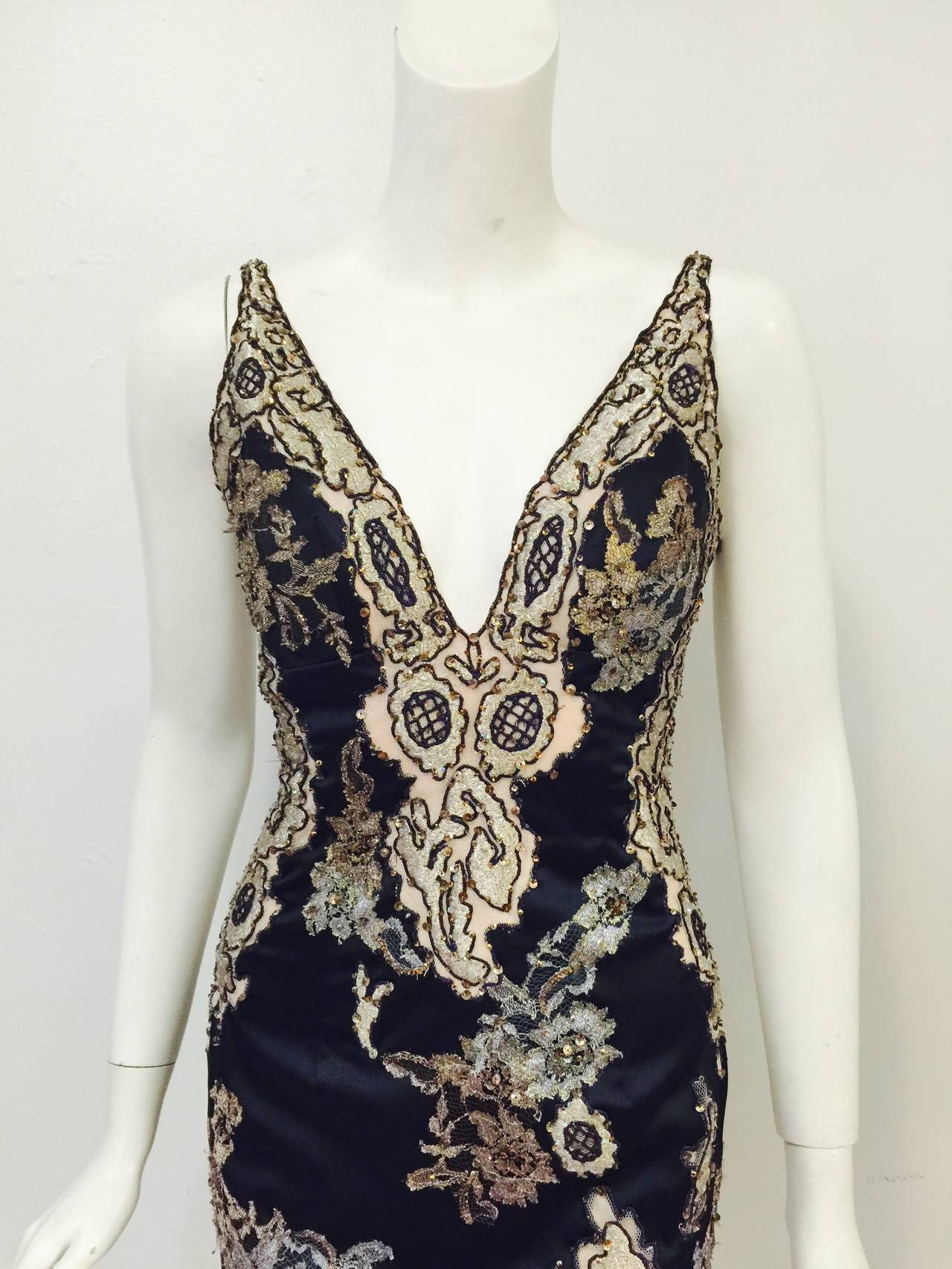 Women's New Mandalay Midnight Blue Neiman Marcus Beaded Cocktail Dress For Sale