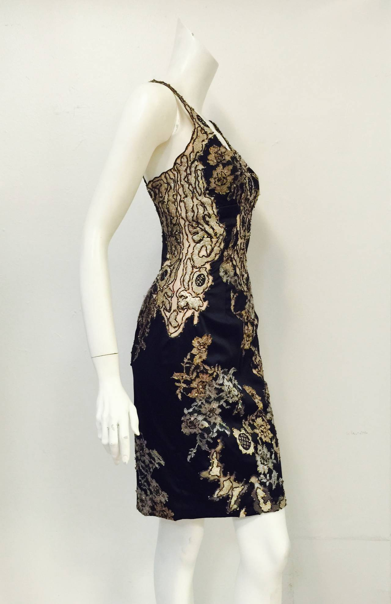 New Mandalay Midnight Blue Neiman Marcus Beaded Cocktail Dress In New Never_worn Condition For Sale In Palm Beach, FL