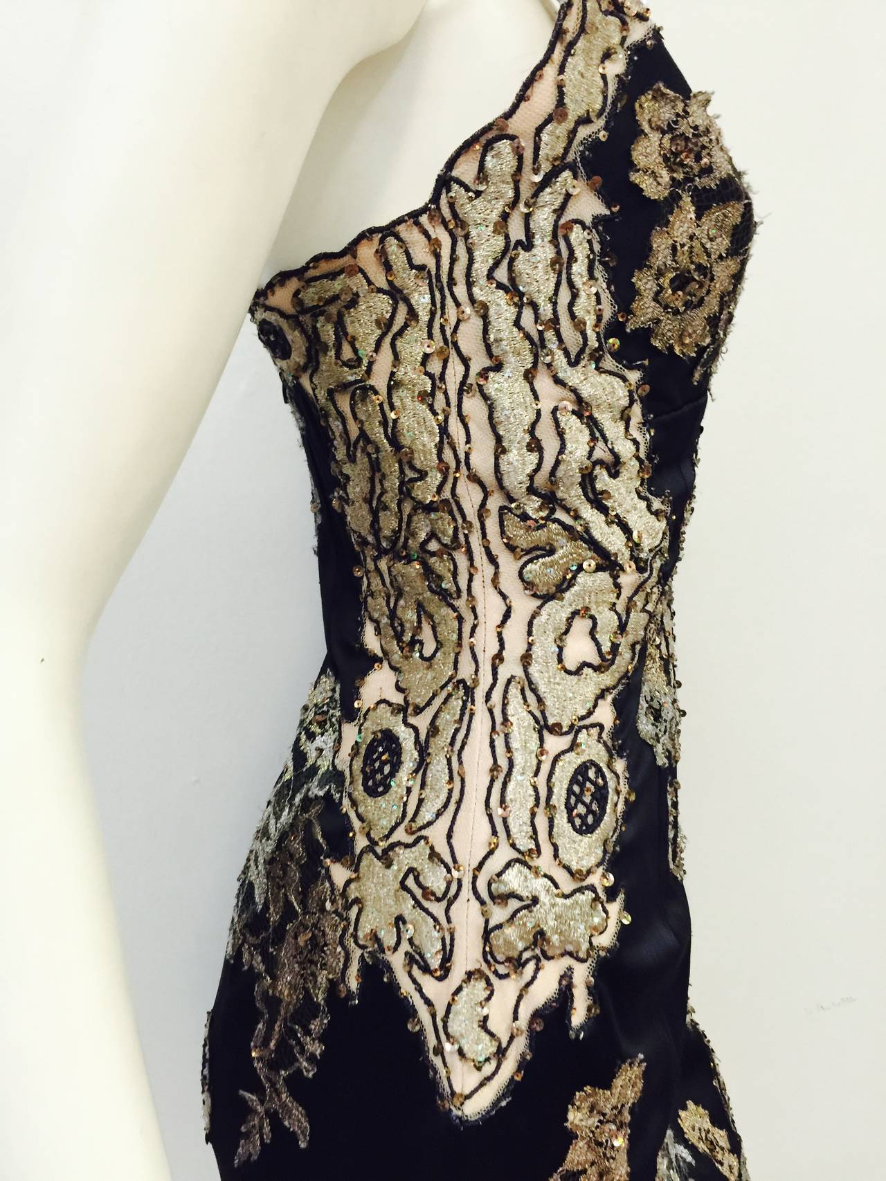 New Mandalay Midnight Blue Neiman Marcus Beaded Cocktail Dress For Sale 1