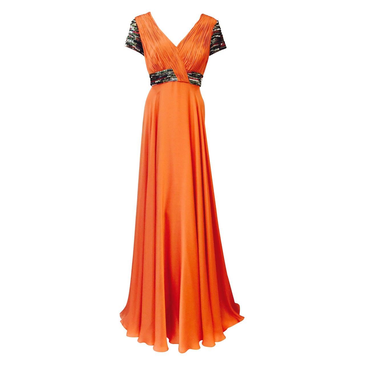 New Farah Angsana Sunset Orange Silk Gown 1