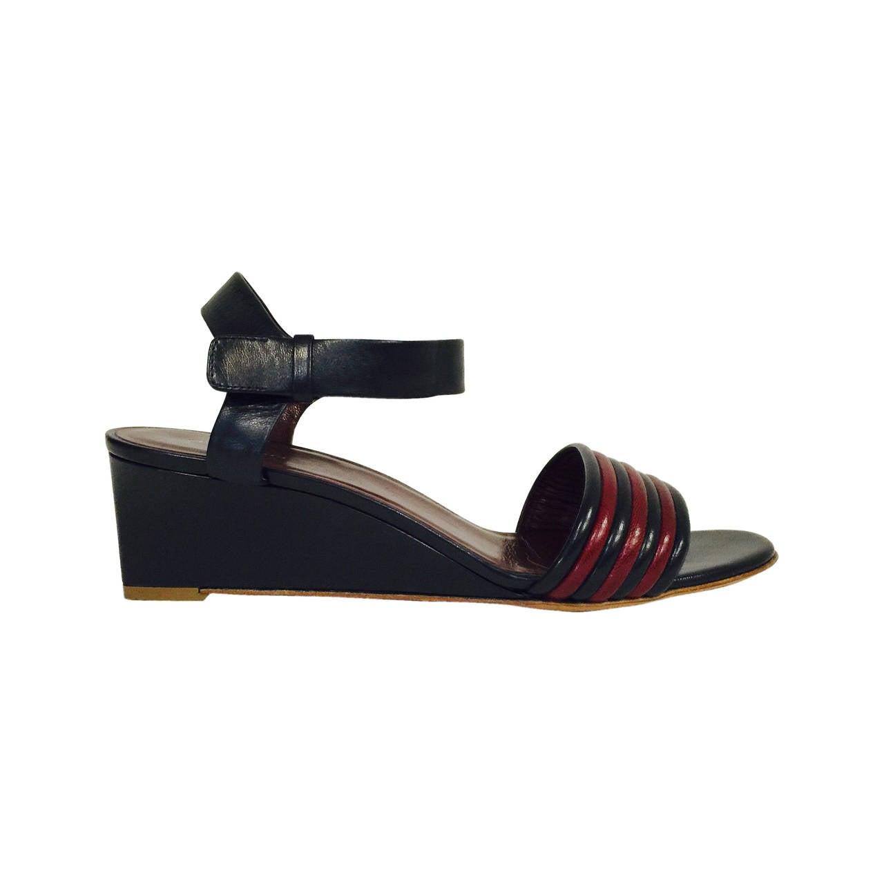 Celine Navy And Burgundy Wedge Sandals At 1stdibs