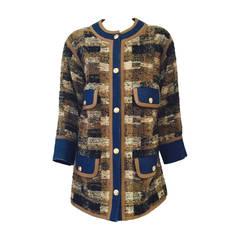 Vintage Chanel Denim and Wool Tweed Car Coat