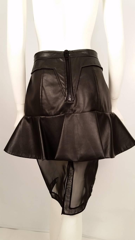 Black New Givenchy Fashion-Forward Peplum Skirt with Nylon Net Bottom For Sale