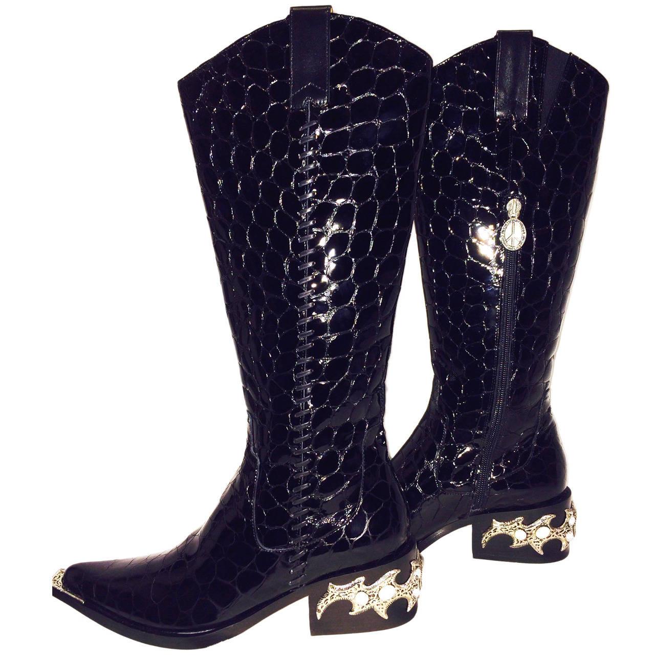 Donald Pliner Quot Western Couture Collection Quot Black Patent