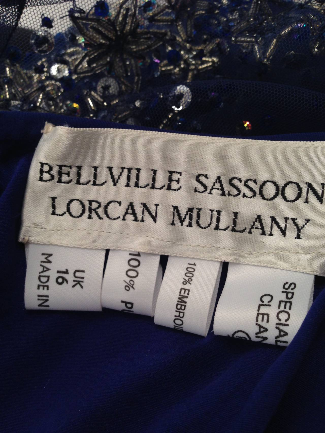 Bellville Sassoon Embellished Midnight Blue Tulle & Silk Star Studded Gown 5