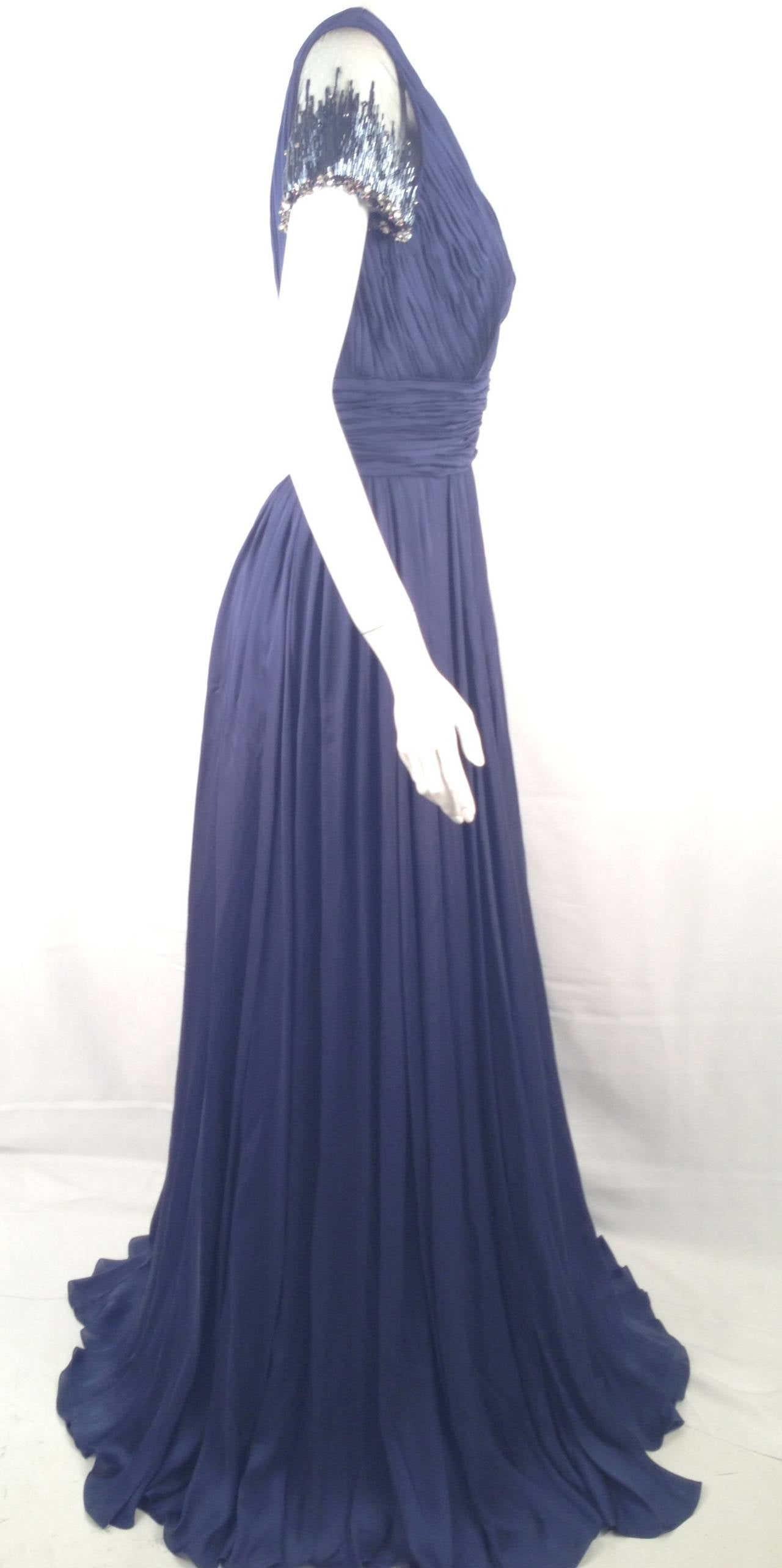 Brand-new Farah Angsana Pin Tucked midnight Blue Gown For Sale at ...