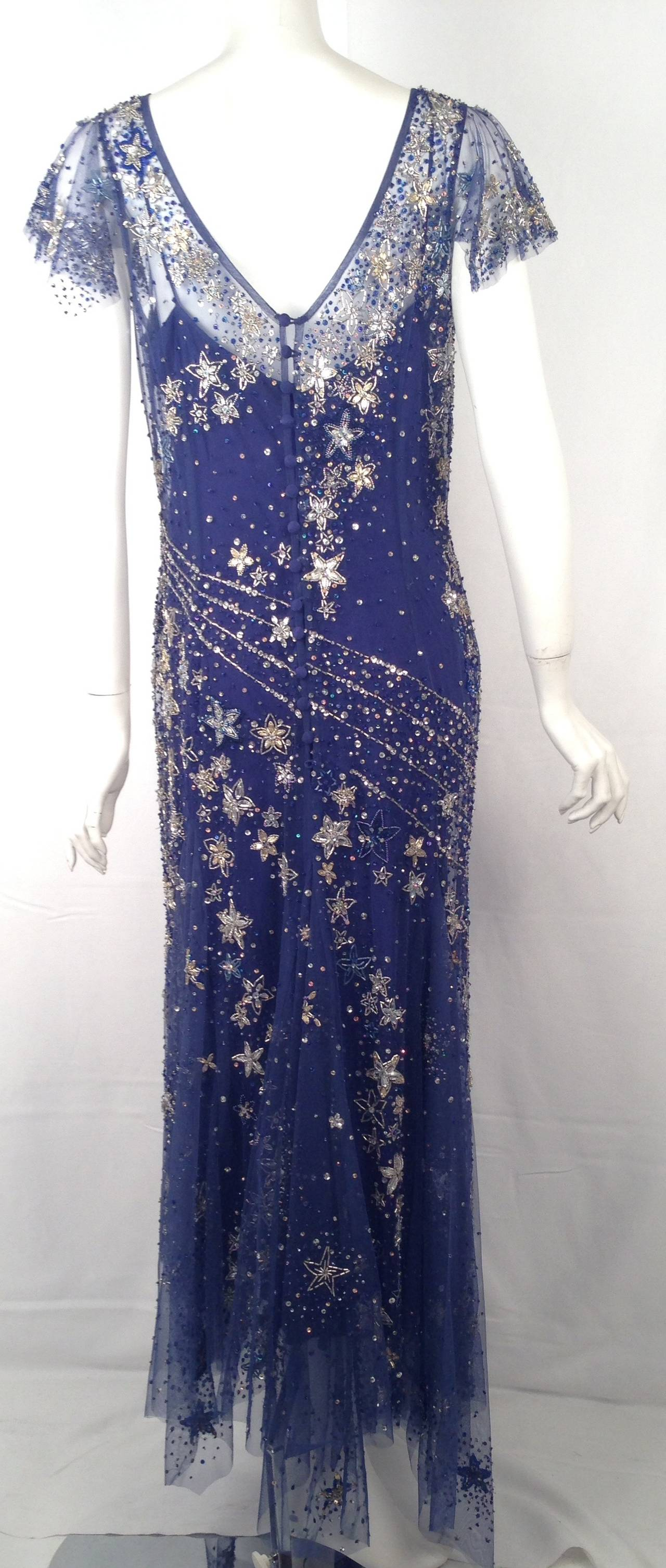 Bellville Sassoon Embellished Midnight Blue Tulle & Silk Star Studded Gown 3
