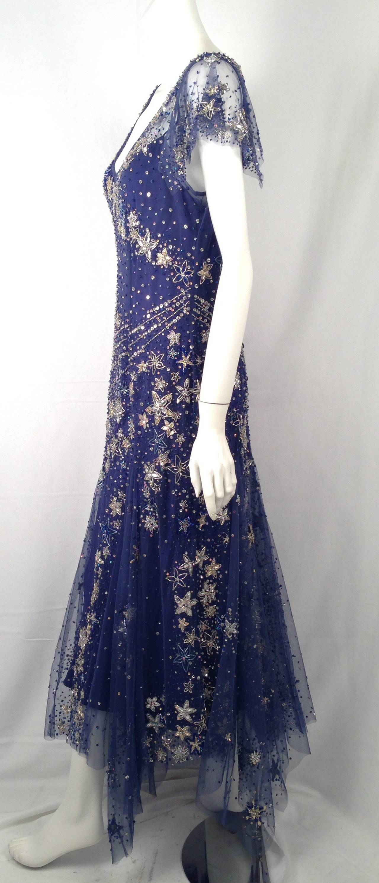 Bellville Sassoon Embellished Midnight Blue Tulle & Silk Star Studded Gown 2