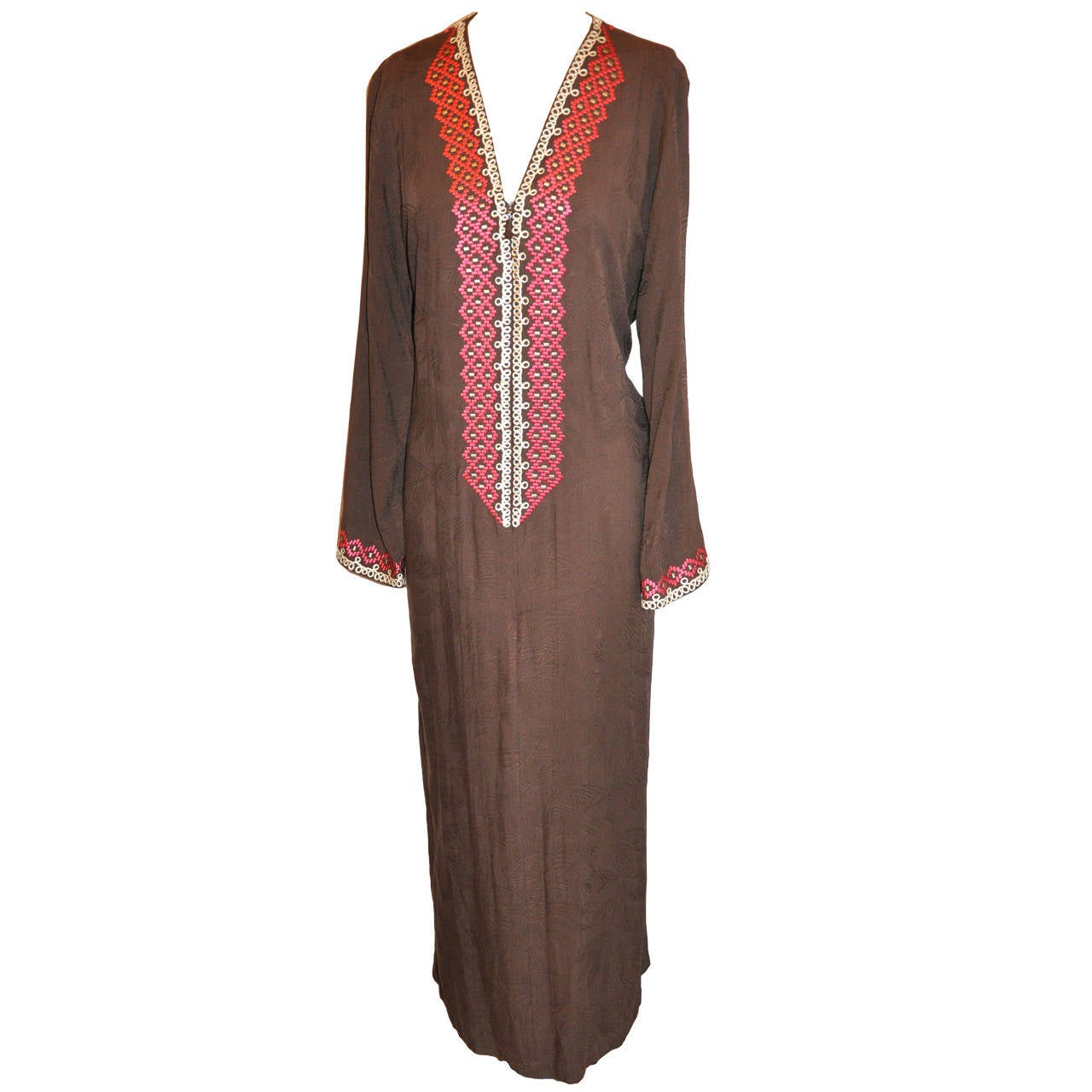 Oscar de la Renta Coco-Brown Silk Caftan with Hand Embroidered Detail