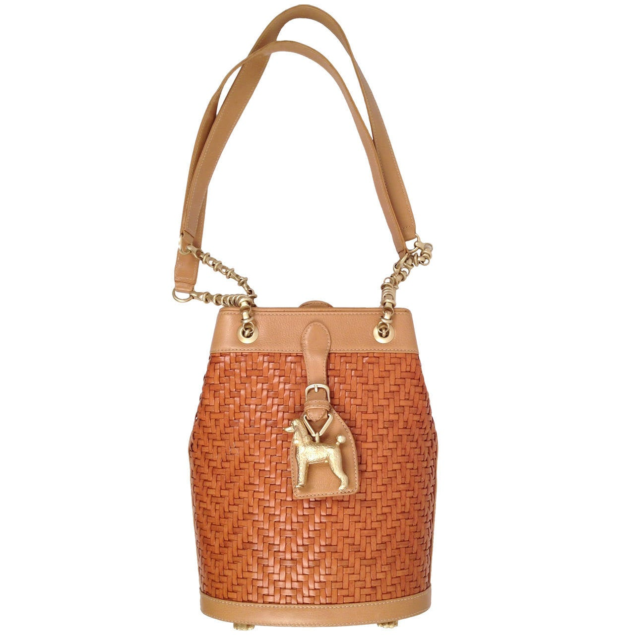 hermes crocodile bag - Kieselstein-Cord Woven Leather Tote With Poodle Charm at 1stdibs