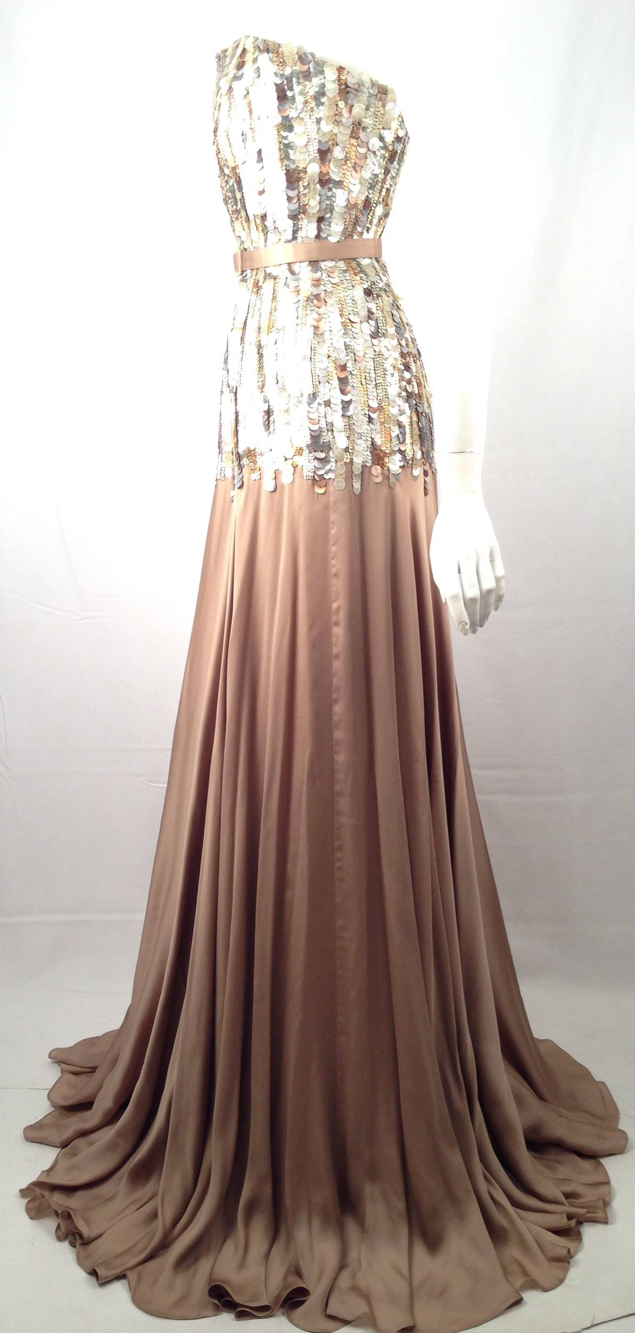 Brand New Strapless Farah Angsana Silk Gown With Sequin and Paillette Bodice 4