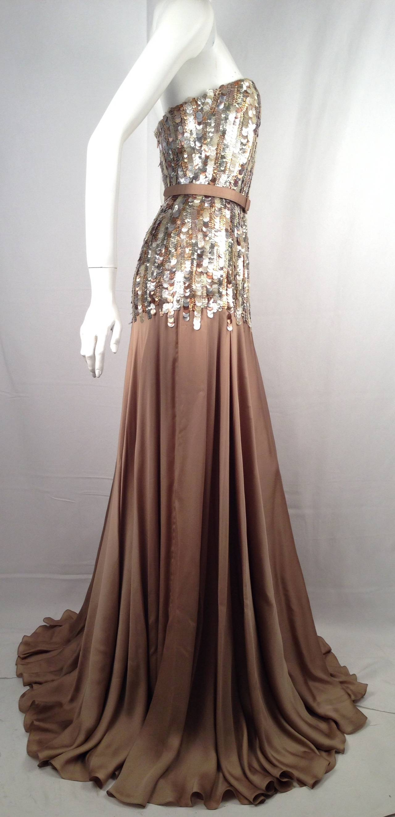 Brand New Strapless Farah Angsana Silk Gown With Sequin and Paillette Bodice 3