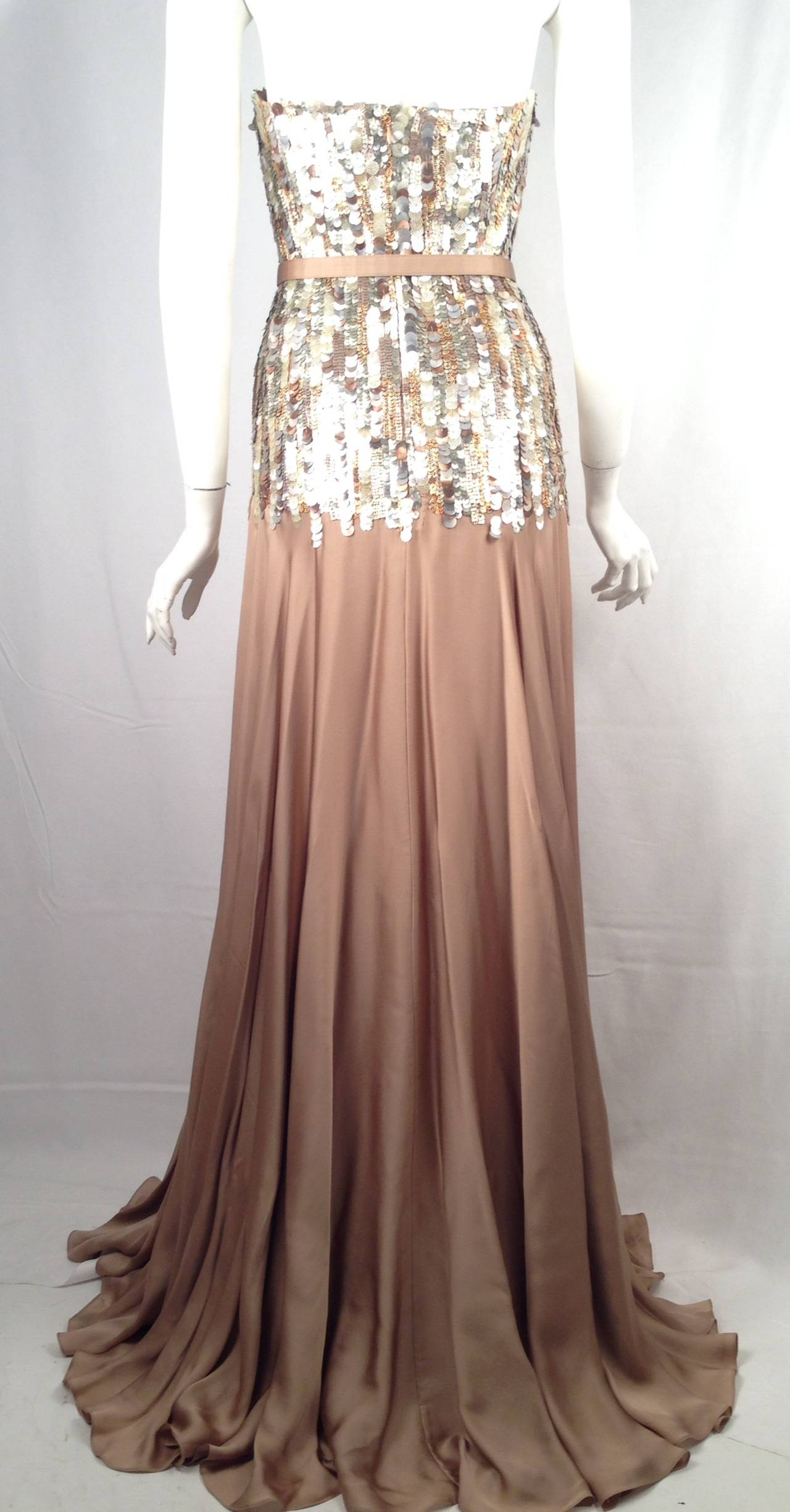 Brand New Strapless Farah Angsana Silk Gown With Sequin and Paillette Bodice 2