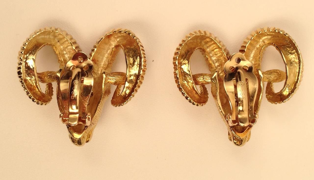 14 Karat Yellow Gold Rams Head Clip On Earrings For Sale