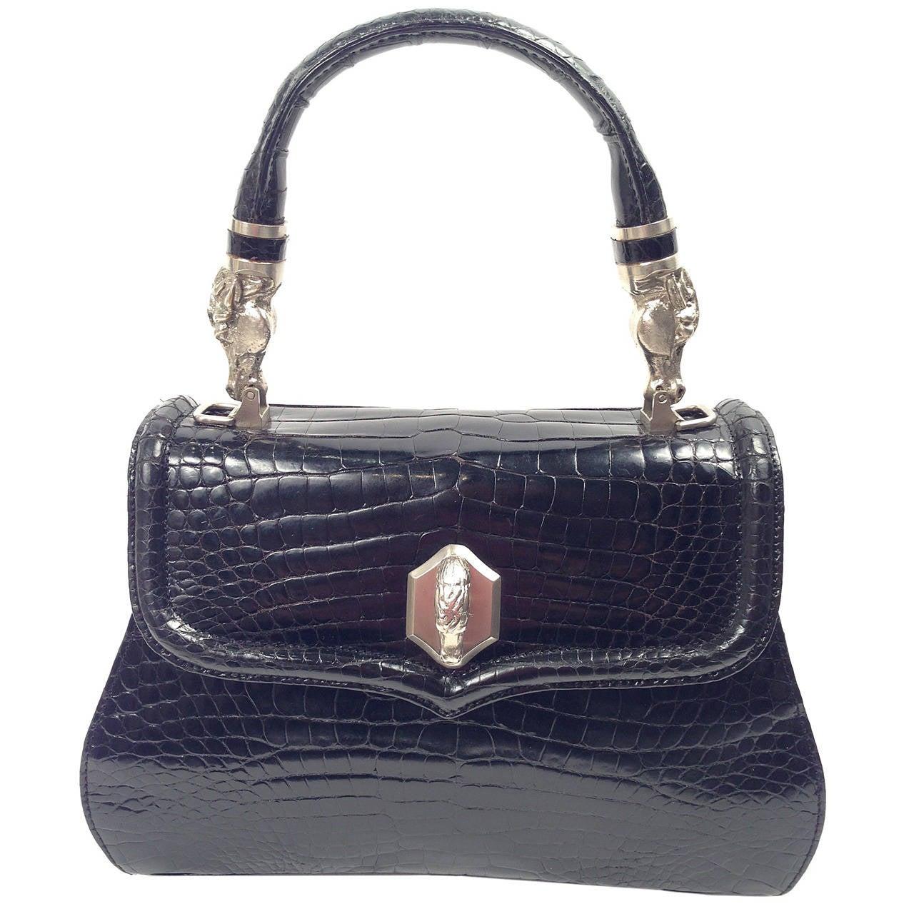 Vintage Siso Black Crocodile Structured Handbag With Horse