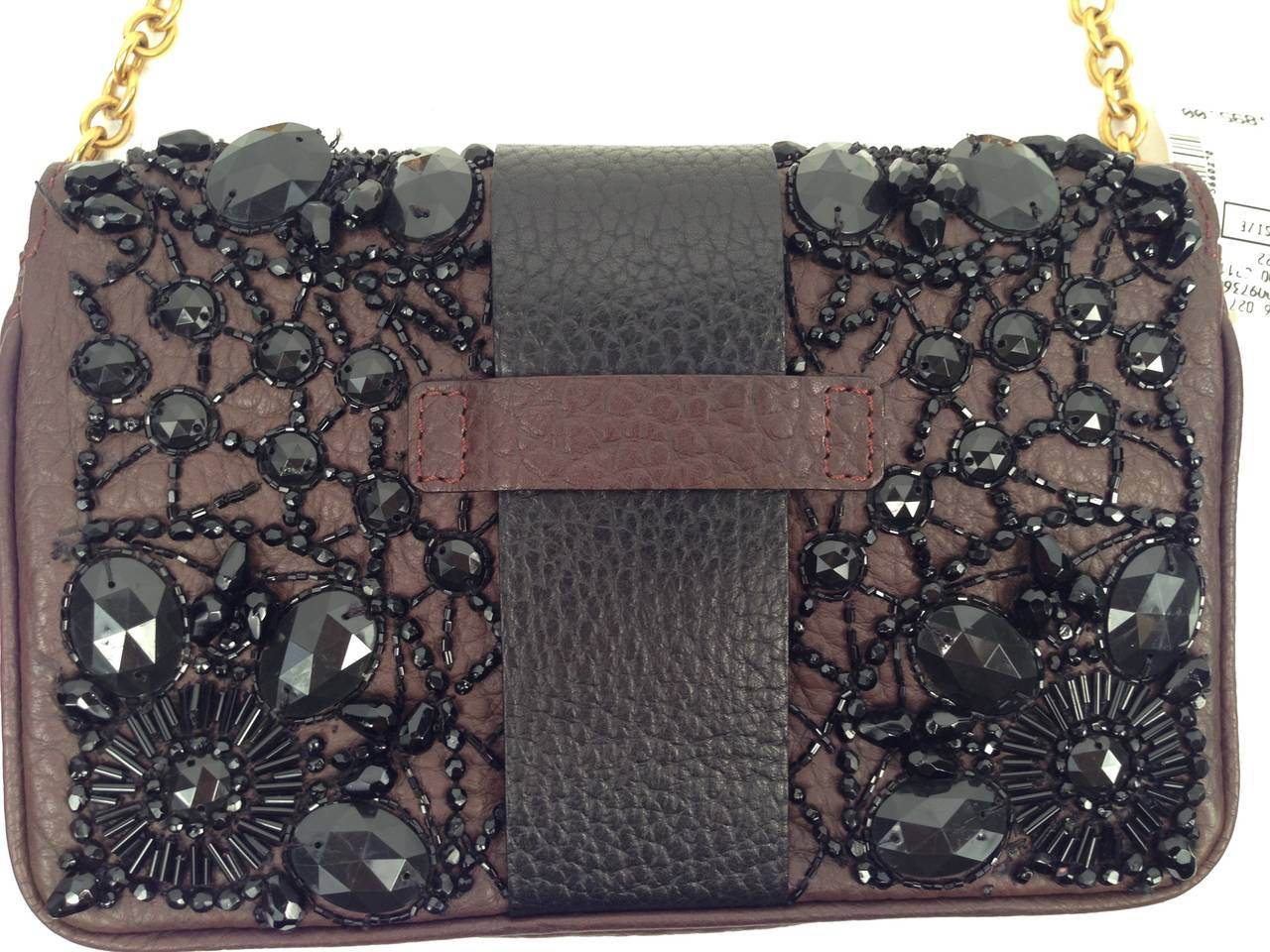 368119e7fc8 Valentino Garavani Chocolate and Black Beaded Shoulder Bag In New Condition  For Sale In Palm Beach
