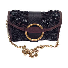 Valentino Garavani Chocolate and Black Beaded Shoulder Bag