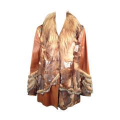 Brand New Kanar Mixed-Media Caramel & Metallic Leather and Fur Jacket