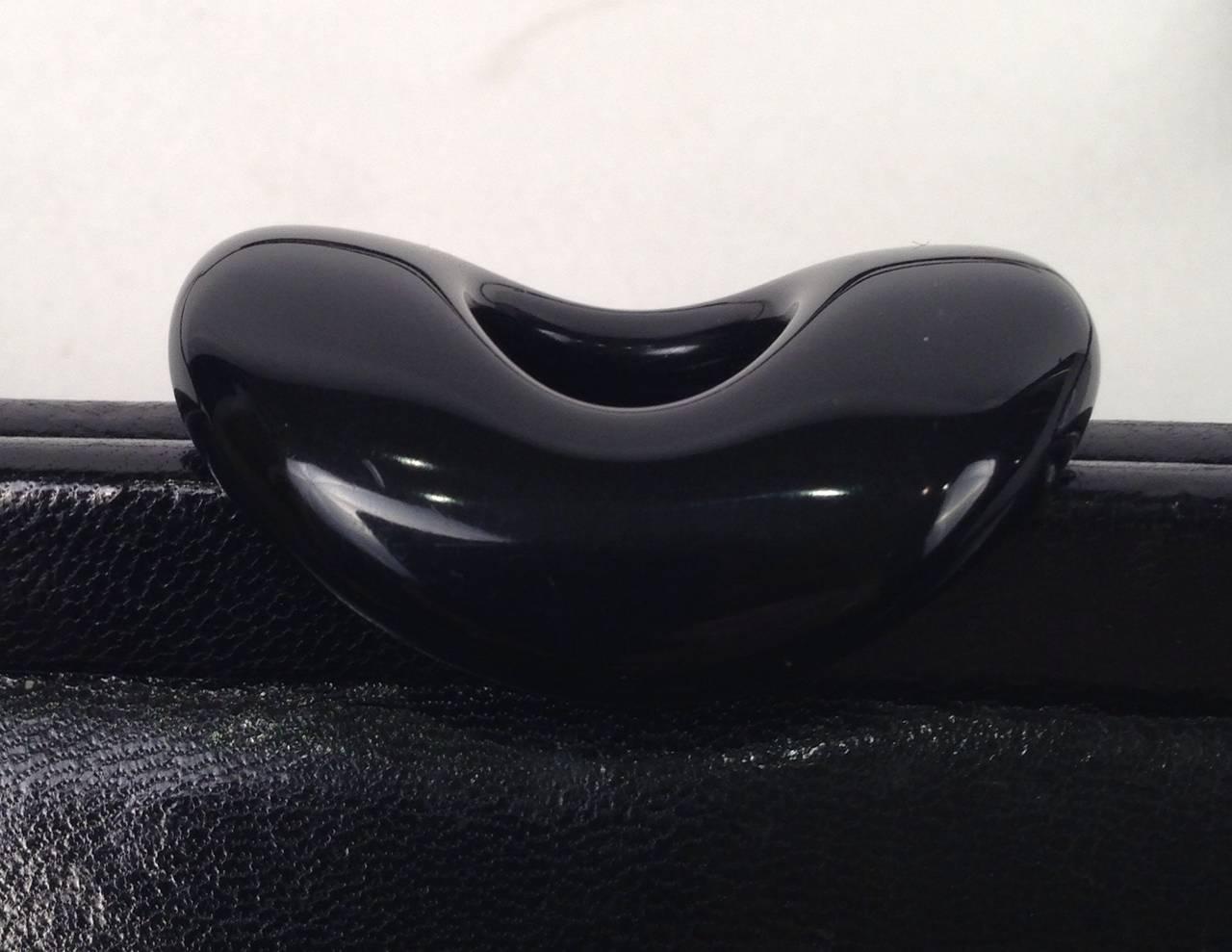 Vintage Bottega Veneta Black Polished Calfskin Day/Evening Convertible Clutch For Sale 2