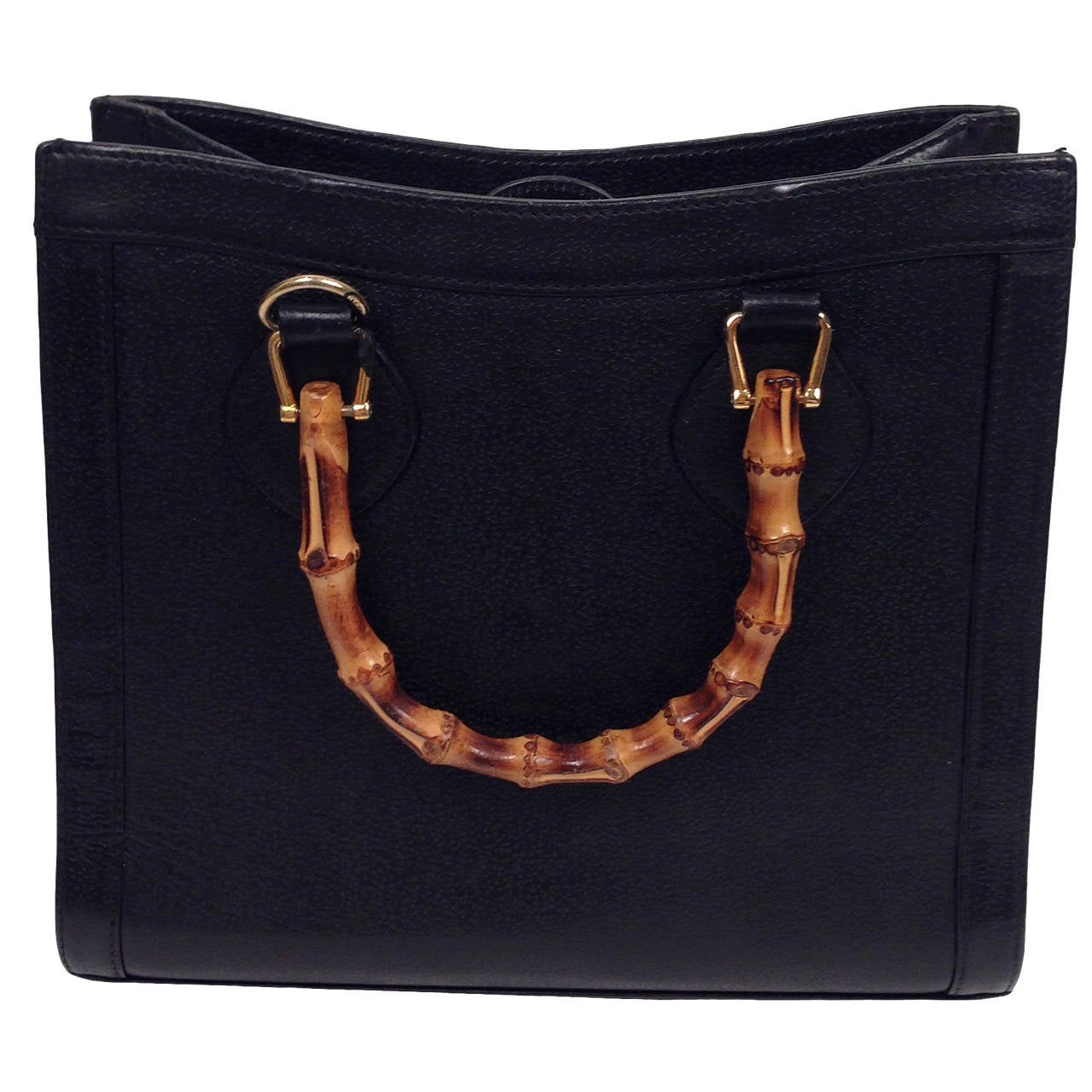 Vine Black Gucci Leather Tote With Bamboo Handles At 1stdibs