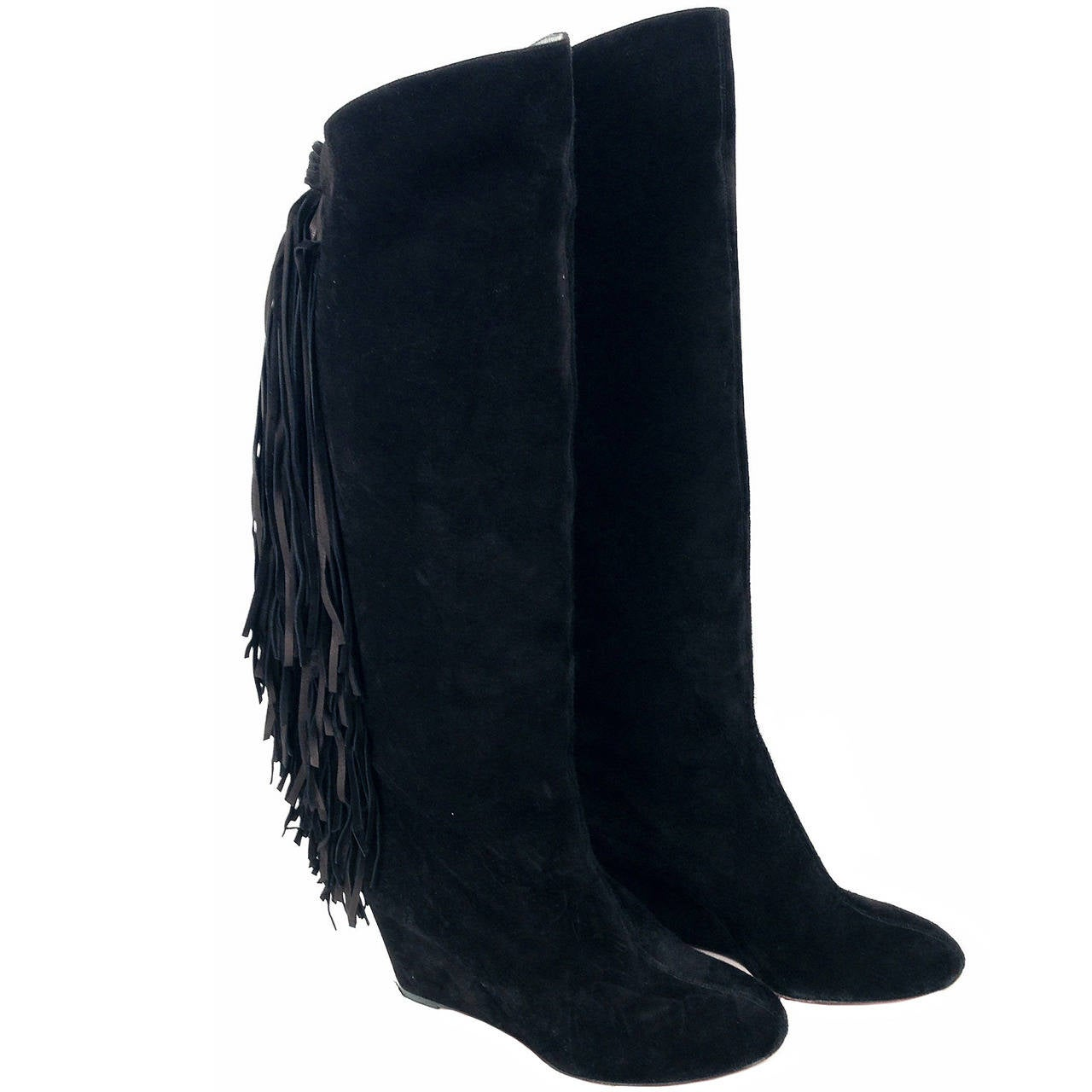 christian louboutin black suede knee boots with fringe at