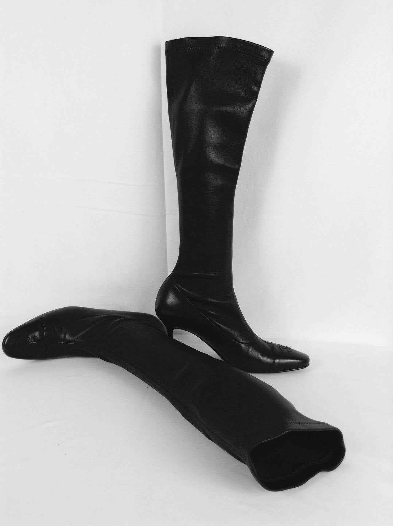 chanel black stretch leather high heel boots at 1stdibs