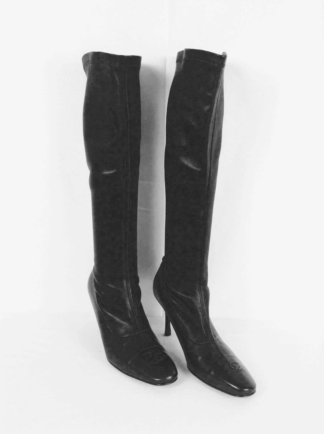 Chanel Black Stretch Leather High Heel Tall Boots at 1stdibs