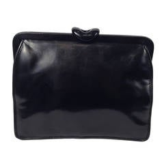 Vintage Bottega Veneta Black Polished Calfskin Day/Evening Convertible Clutch