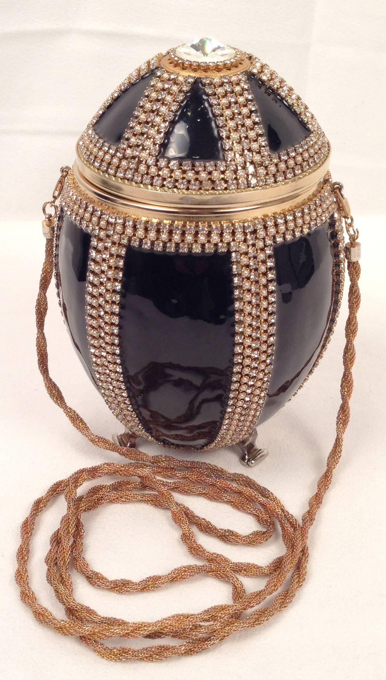 Vivian Alexander Jet Black Enamel And Swarovski Crystal