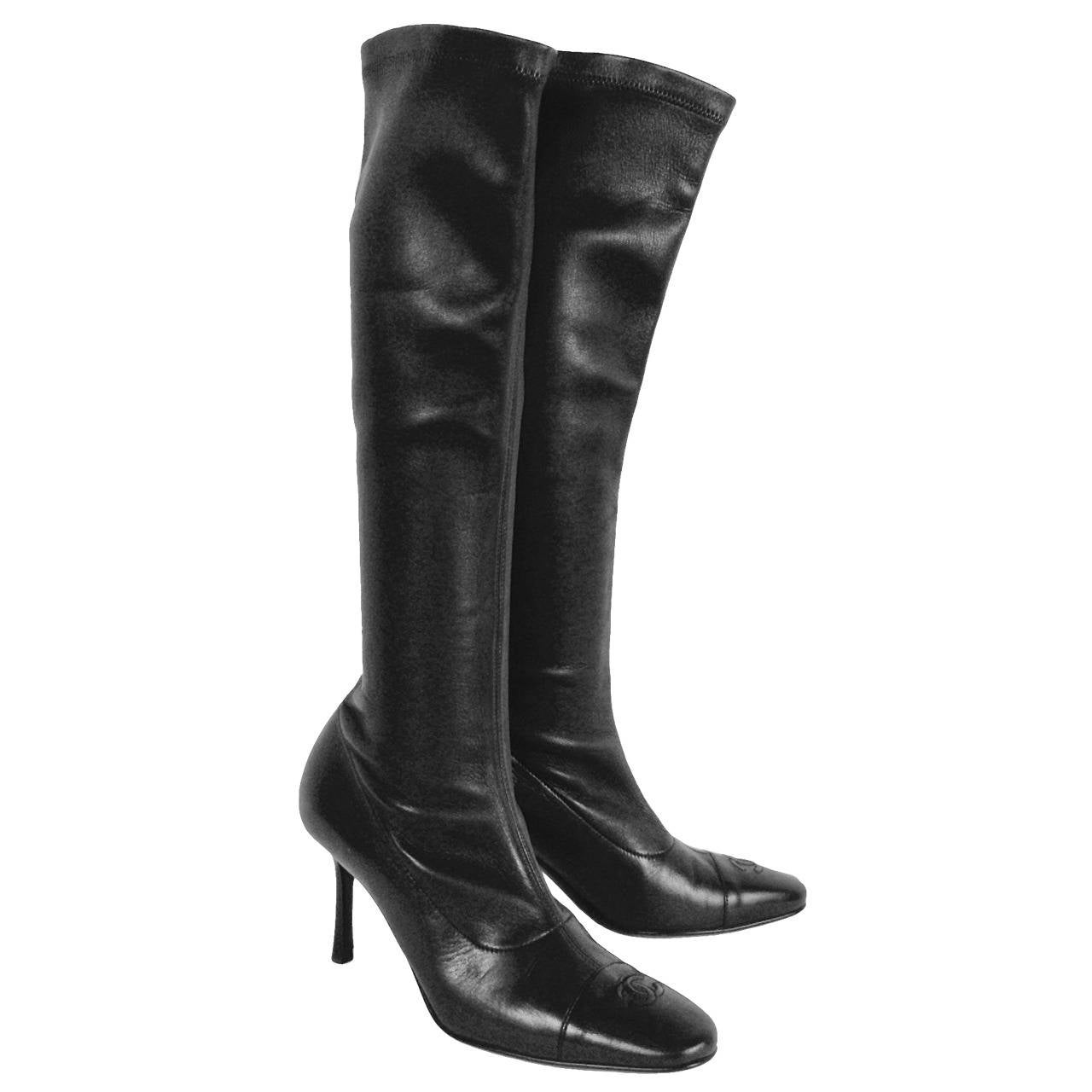 7c9bcb7bb520 Chanel Black Stretch Leather High Heel Tall Boots at 1stdibs