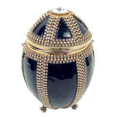 Vivian Alexander Jet Black Enamel and Swarovski Crystal Ostrich Egg #95242