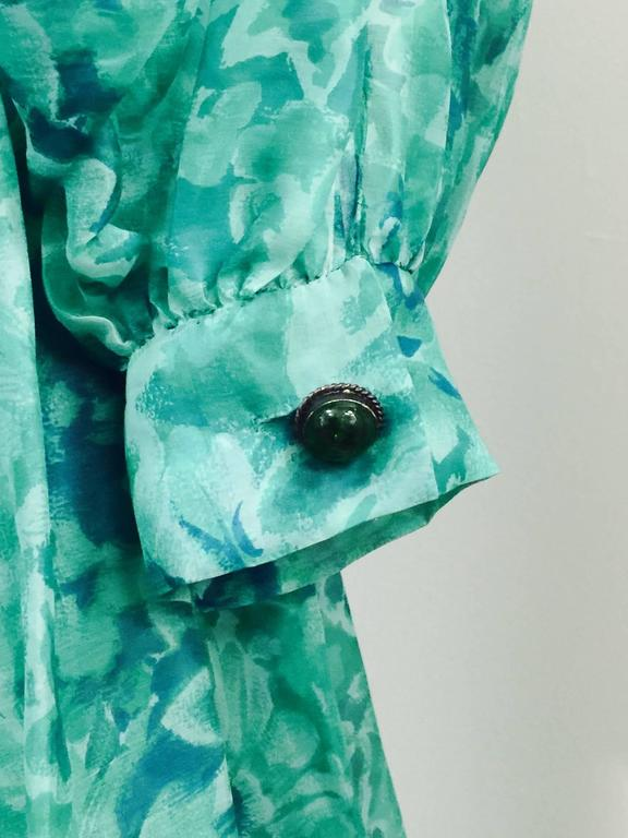 Custom Nina Ricci Paris Green Floral All Silk Day Dress  For Sale 1